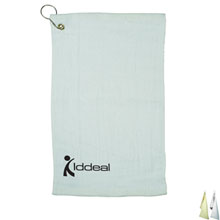 Fingertip Towel w/ Grommet - Natural & White