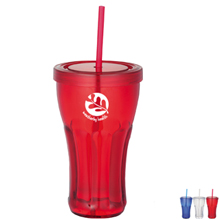 Fountain Soda Single Wall Tumbler with Straw, 16 oz., BPA Free!