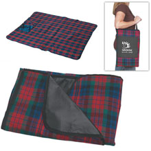 "Plaid Fold-N-Go Picnic Blanket, 70"" x 55"""