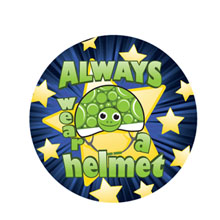 Always Wear a Helmet Sticker Roll, Stock