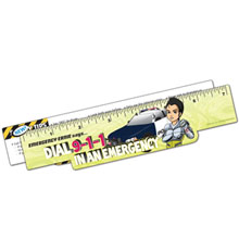 Safety Laminated  Emergency Ernie Dial 911 Ruler, Stock