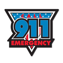 Call 911 Emergency Full Color Magnet, Stock