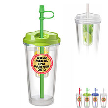 Aqua Fruit Infuser Tumbler, 16oz., BPA Free - Free Set Up Charges!