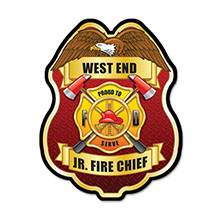 Junior Fire Chief Plastic Badge with Full  Color