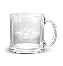 Deep Etched Glass Coffee Mug, 13oz.