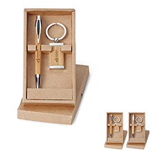 Bamboo Pen & Key Ring Set