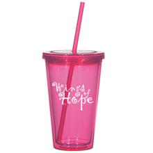 Double Wall Pink Acrylic Tumbler with Straw, 16oz., BPA Free
