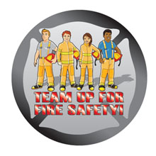 Team Up For Fire Safety Sticker Roll, Stock - Closeout, On Sale!