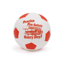 "Practice Fire Safety Every Day Foam Soccer Ball 4"", Stock"