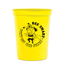 Bee Smart Don't Let Fire Start, 16 oz. Stadium Cup, Stock