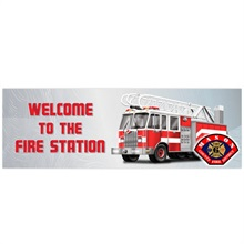 Welcome to the Fire Station, Heavy Duty Banner w/ Custom Full Color Imprint, 2' x 6'