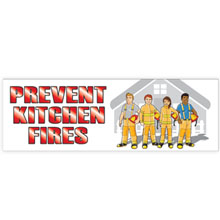 Prevent Kitchen Fires Full Color Heavy Duty Fire Prevention Banner, Stock - Closeout, On Sale!