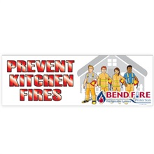 Prevent Kitchen Fires, Heavy Duty Banner w/ Custom Full Color Imprint, 2' x 6'