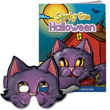 Spooky Fun Halloween Coloring & Activity Book w/ Cat Mask