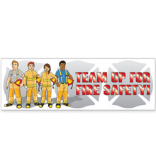 Team Up For Fire Safety Full Color Heavy Duty Fire Prevention Banner, Stock
