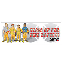 Team Up For Fire Safety,  Heavy Duty Banner w/ Custom Full Color Imprint, 2' x 6'