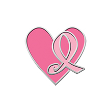 Pink Ribbon Heart Lapel Pin, Stock