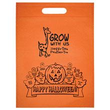 "Halloween Non-Woven Die Cut Handle Bag w/ Pumpkin Graphic, 10"" x 14"""