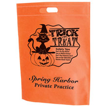 "Halloween Non-Woven Die Cut Handle Bag w/ Cat & Pumpkin Graphic, 13"" x 15"""