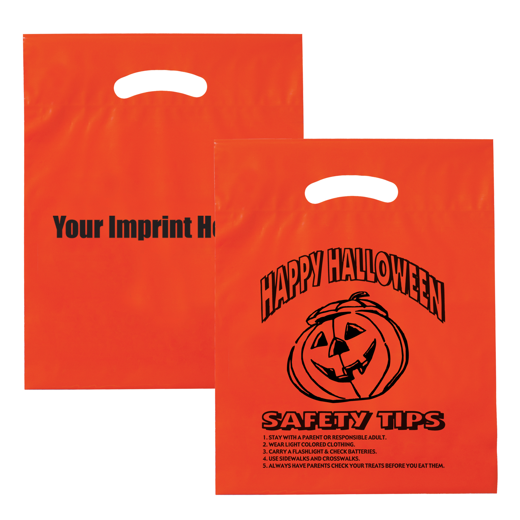 "Halloween Plastic Die Cut Bag w/ Safety Tips, 12"" x 15"""