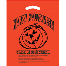 "Halloween Plastic Die Cut Bag w/ Safety Tips in Spanish, 12"" x 15"""