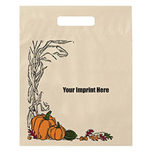 "Fall Design Plastic Die Cut Bag, 12"" x 15"""