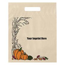 "Fall Design Plastic Die Cut Bag, 12"" x 15"""