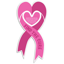 Pink Ribbon Heart Auto Magnet