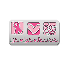 Live Love Believe Pink Ribbon Lapel Pin, Stock
