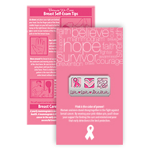 Live Love Believe Pink Ribbon Pin on Affirmation Word Cloud Card, Stock