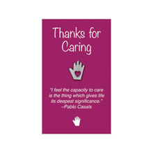 "Heart in Hand Lapel Pin on ""Thanks for Caring"" Appreciation Card, Stock"