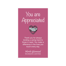 Hands in Heart Lapel Pin on Custom Card
