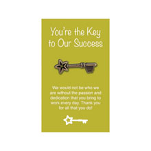 "Key Deluxe Lapel Pin on ""You're the Key to Our Success"" Appreciation Card, Stock"