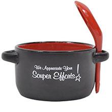 """Appreciation Soup Mug, """"We Appreciate Your Souper Efforts!"""", Stock"""
