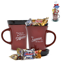 """Mixed Chocolates Appreciation Tea Mug Gift Set, """"Thanks For Making A Difference"""" Design, Stock"""