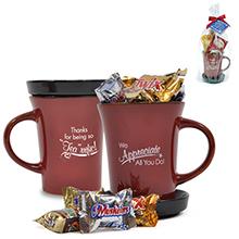 "Mixed Chocolates Appreciation Tea Mug Gift Set, ""Thanks For Being So 'Tea'rrific!"" Design, Stock"