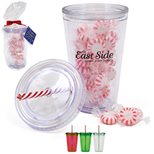 Acrylic Beverage Tumbler Gift Set w/ Candy Cane Straw & Starlite Mints, 16oz.