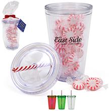 Acrylic Beverage Tumbler Gift Set w/ Candy Cane Straw & Starlite Mints, 16oz.