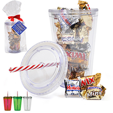 Acrylic Beverage Tumbler Gift Set w/ Candy Cane Straw & Mixed Chocolates, 16oz.