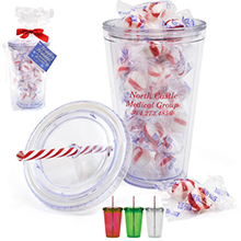 Acrylic Beverage Tumbler Gift Set w/ Candy Cane Straw & Peppermint Puffs, 16oz.