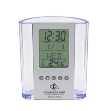 Clear Pen Cup w/ Alarm Clock & Thermometer