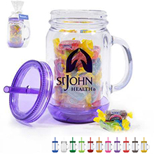 Acrylic Mason Jar Gift Set w/ Jolly Ranchers, 20oz.