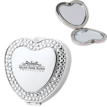 Heart Shaped Rhinestone Compact Mirror
