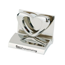 Chrome Metal Business Card Holder, Heart