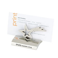 Chrome Metal Business Card Holder, Star
