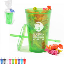 Economy Plastic Double-Wall Tumbler Gift Set w/ Tootsie Fruit Rolls, 16oz.