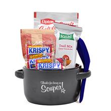 "Appreciation Breakfast & Lunch Soup Mug Gift Set, ""Thanks For Being So Souper!"" Design, Stock"