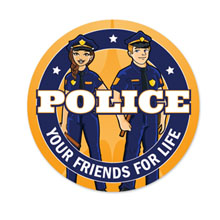 Police Your Friends For Life Sticker Roll, Stock