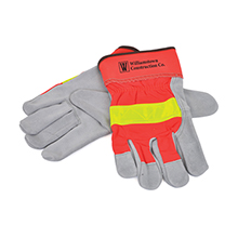 Hi-Viz Leather Gloves w/ Safety Cuffs