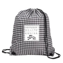 Designer Houndstooth 210D Polyester Drawcord Tote